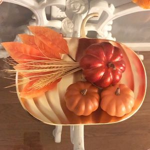 Other - Fall Halloween Gold Metal Decorative Pumpkin Tray